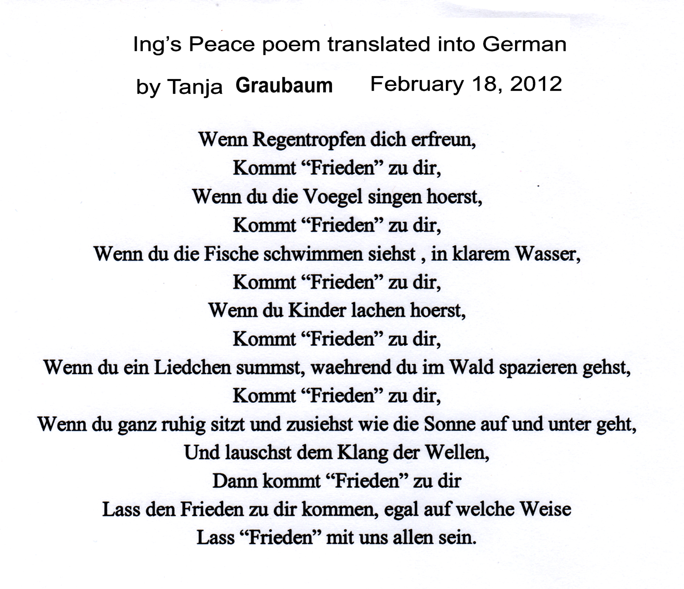 how to say peace in german