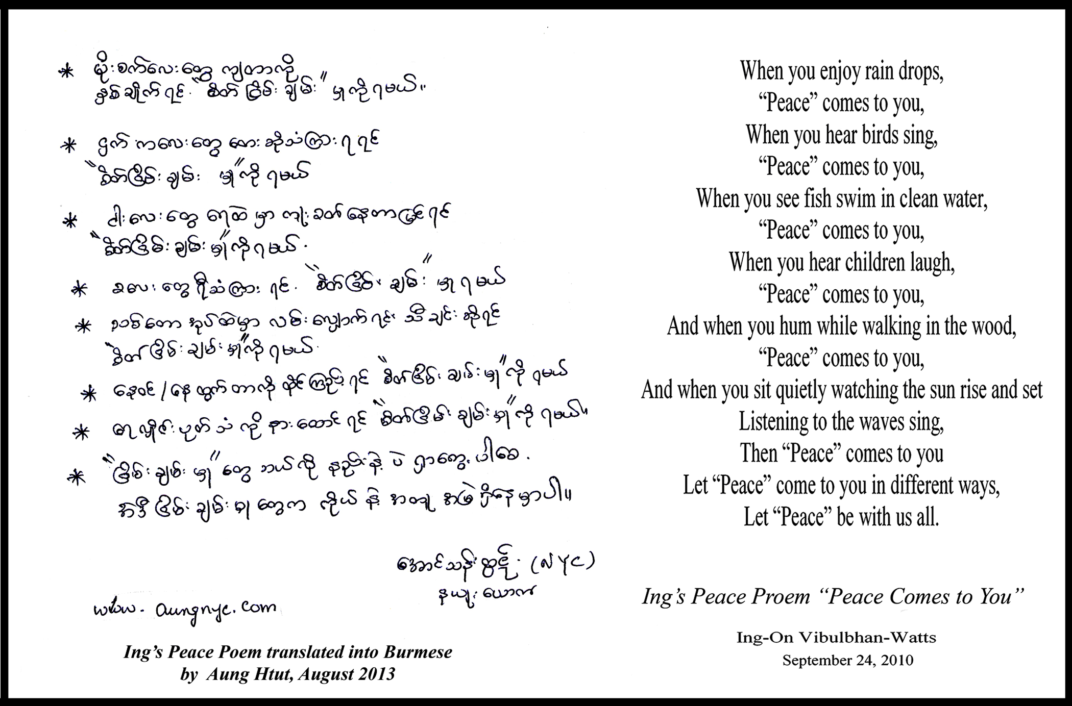 Translated Into Burmese By Aung Htut August 2017 Hi Ing