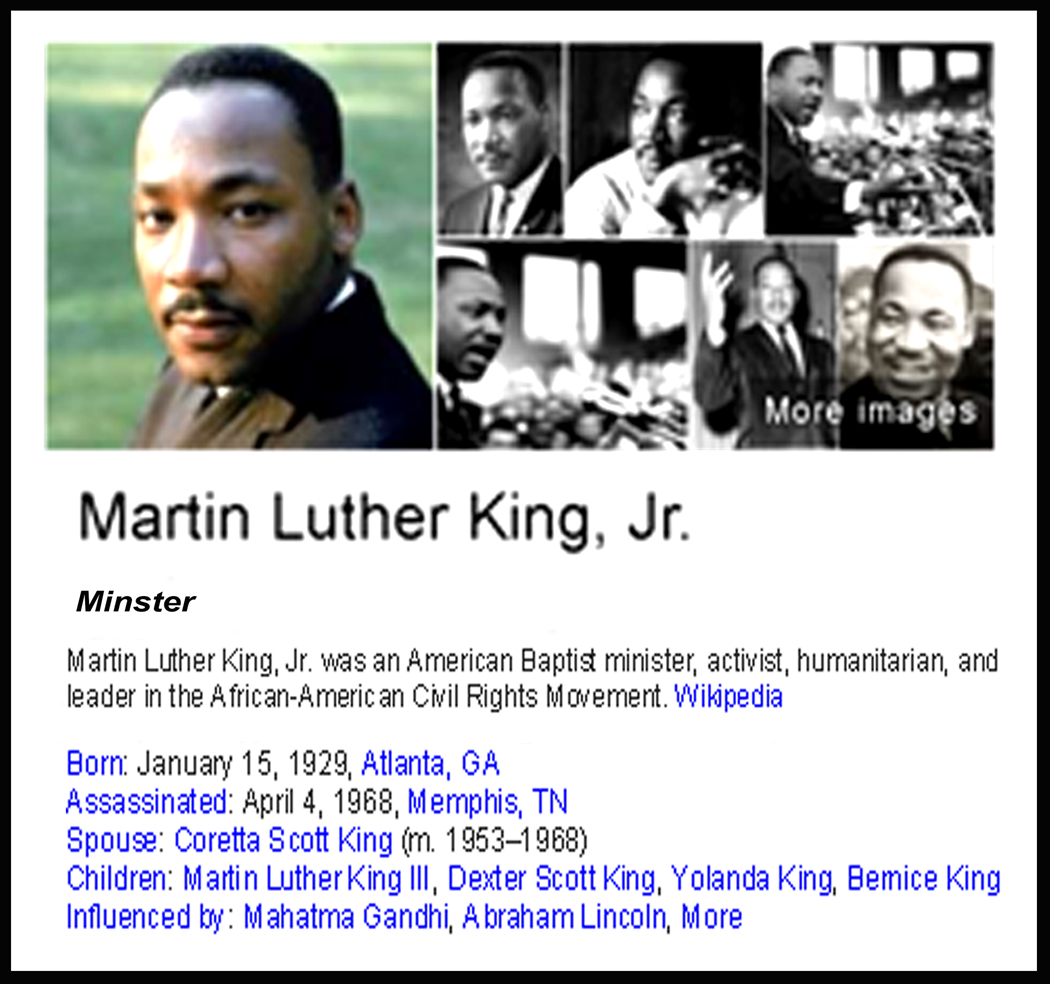 "a biography of martin luther king jr a civil rights activist Name: martin luther king jr birth date: january 15, 1929 – april 4, 1968 job functions: minister, civil rights activist fields: ministry, social activism known for: ""i have a dream"" speech introduction: on the third monday of january, martin luther king jr day is celebrated in the united states on this day."