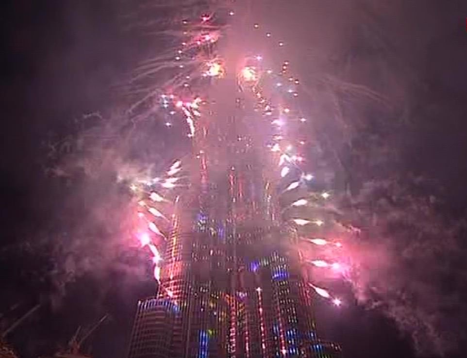 Fireworks explode out of the Burj Khalifa as Dubai welcomes in the 2020 new year