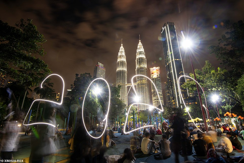 The light drawing of 2020 during the New Year celebrations near the Petronas Twin Towers New Year Celebrations, Kuala Lumpur, Malaysia, 01 January, 2020