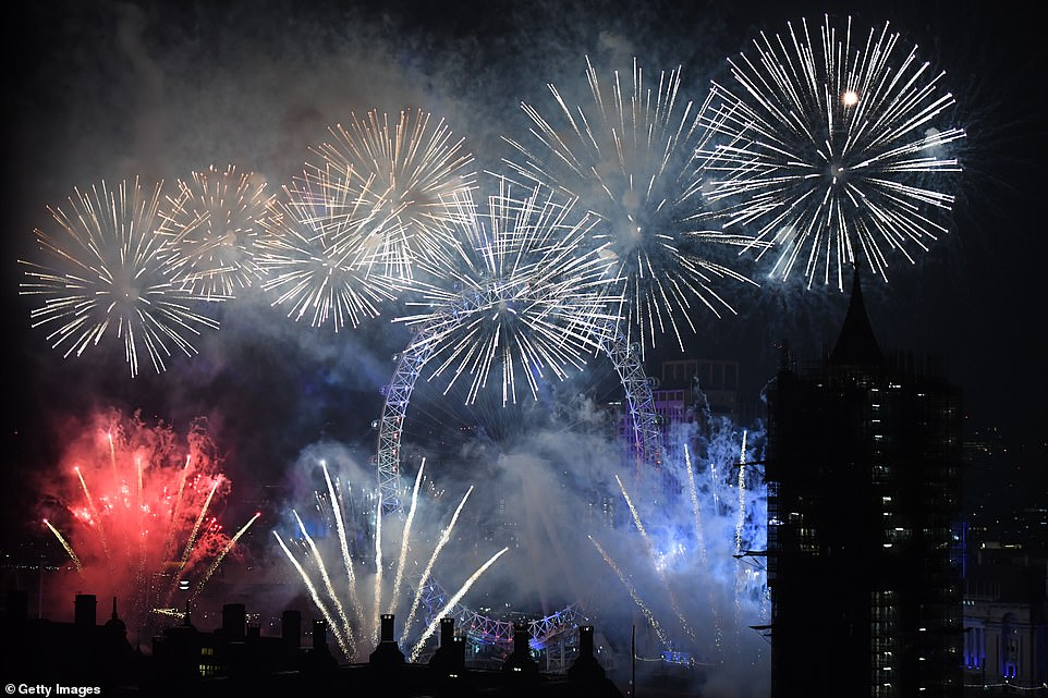 Fireworks explode over The Coca-Cola London Eye, Westminster Abbey and Elizabeth Tower near Parliament as thousands of revelers gather along the banks of the River Thames to ring in the New Year on January 1, 2019 in London, England