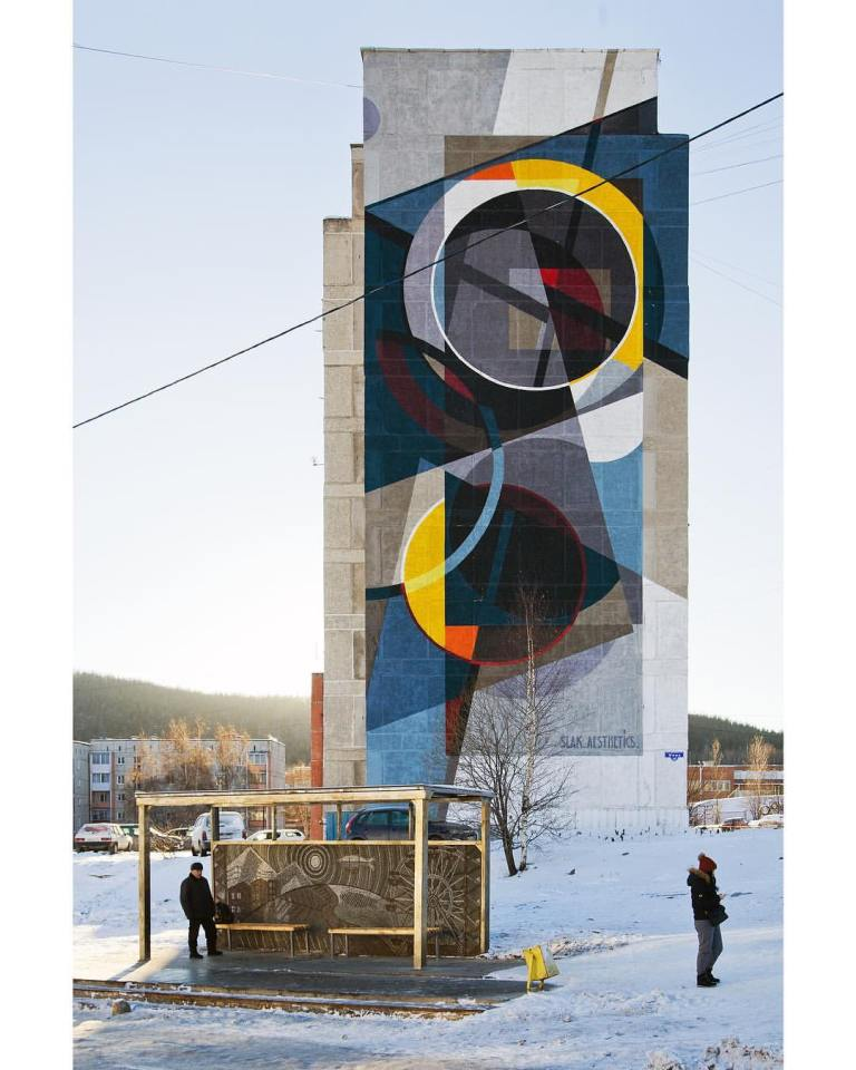 huge mural by russian urban art