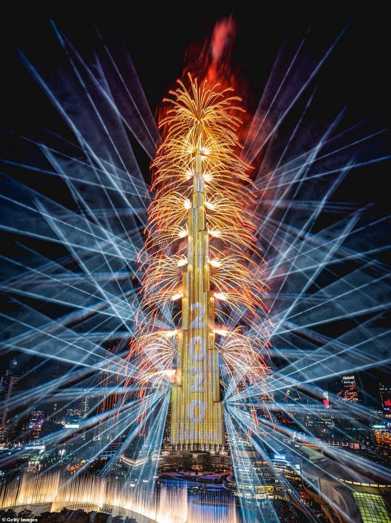 Fireworks go off at the Burj Khalifa on New Year's Eve 2019 on January 1, 2019 in Dubai, United Arab Emirates