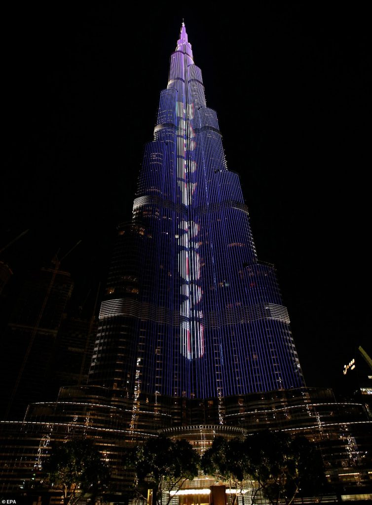 The Burj Khalifa, the tallest building in the world, is prepared for the fireworks of New Year 2020 celebrations in the Gulf emirate of Dubai, United Arab Emirates, 31 December 2019