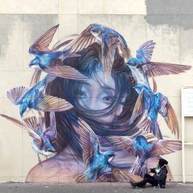 street art masterpiece by Emily Ding in Oakland, California, USA