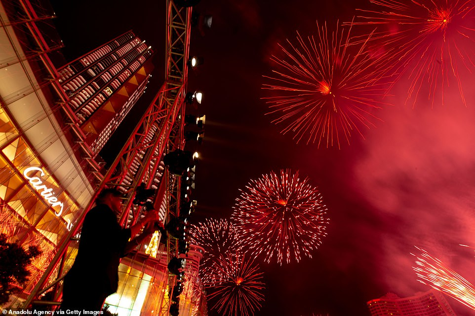 Fireworks explode for the 'Amazing Thailand Countdown 2020' at Icon Siam during the New Year's celebrations on January 1, 2020 in Bangkok, Thailand