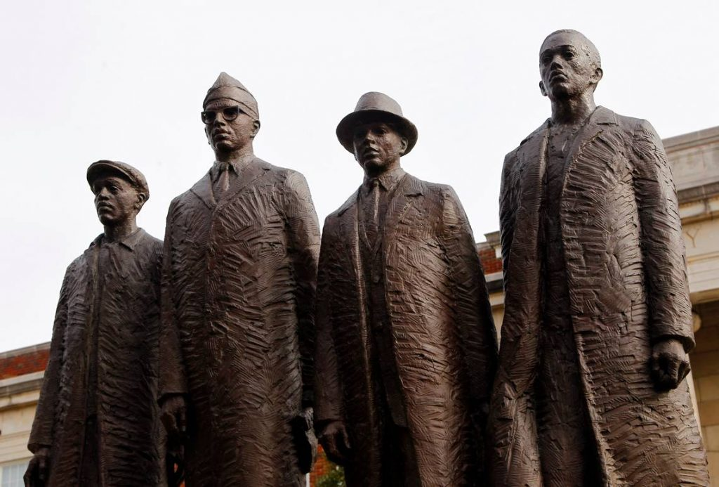 A statue of the four students who staged a civil rights sit-in at a Greensboro lunch counter in 1960 stands on the campus at N.C. A&T University in Greensboro NC on Jan. 23, 2014. They are (L:R) David Richmond, Franklin McCain, Ezell Blair, Jr., and Joseph McNeil. For story on the state of historically black universities in North Carolina, of which A&T is one.