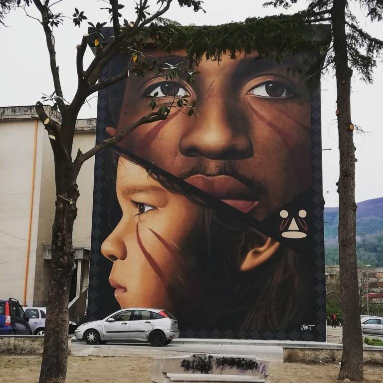 Jorit Agoch in Palma Campania,Italy.