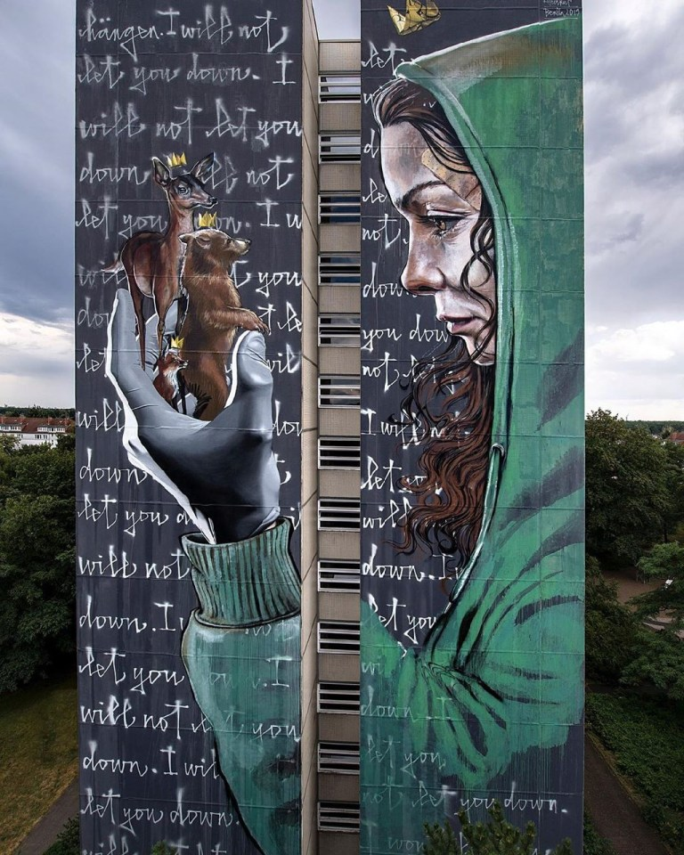 street art masterpiece by Herakut and Nuno Viegas in Berlin, Germany