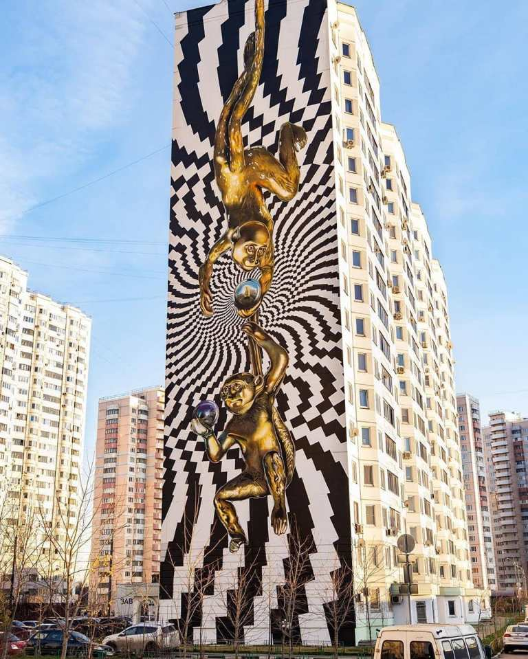 urban art mural by Dmitry Levochkin in Odintsovo, Russia