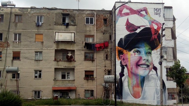 Manomatic mural artwork in albania