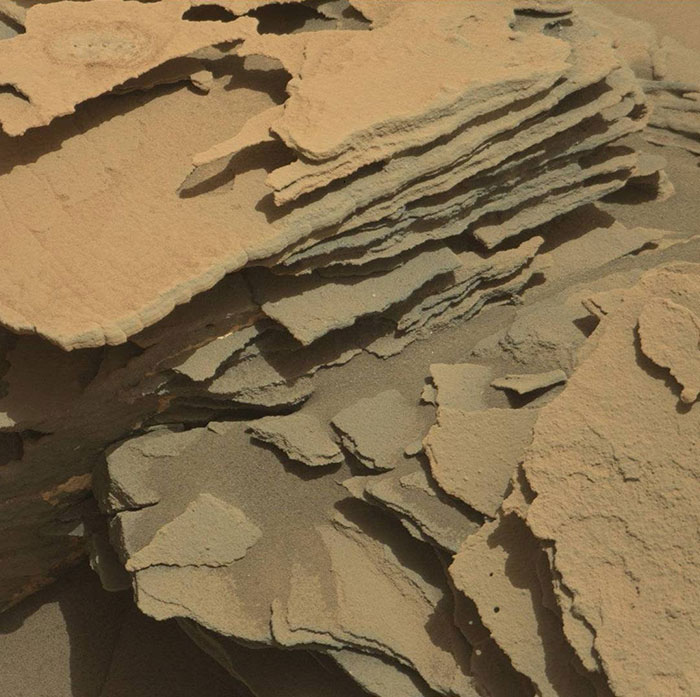 "Curiosity Visited An Area Named ""Fracture Town"" Which Contains Many Pointed, Layered Rock Formations"